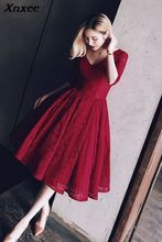 Xnxee New Sexy Lace Solid Red V-Neck Dress Women Winter Dresses Fashion Club Party 2018 Vestidos Backless Vestido