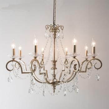 Lampe pendante de pays américain Restaurant pendentif lumières chambre branche de fer français rétro salon bougie cristal suspension lampe