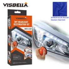 Visbella Профессиональный Налобный фонарик восстановление Системы комплект поделка налобный фонарь уход за автомобилем Ремонт Kit Light чистая полировка ручной с тканью