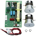 Ac 220v 60 w-100 w limpiador ultrasónico panel probador de frecuencia con 2 piezas 50w 40khz transductores