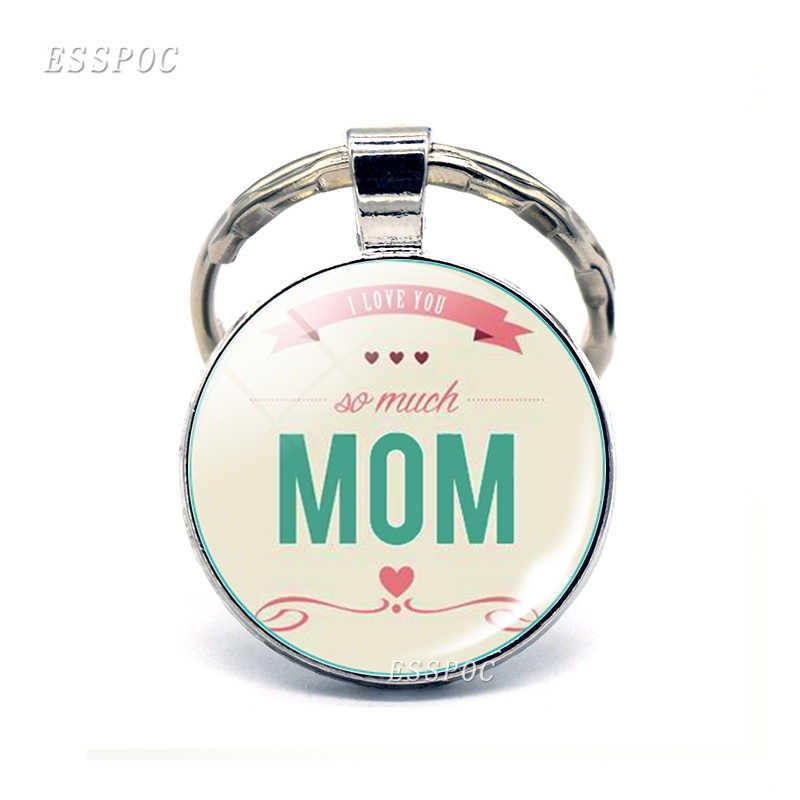 """I Love Mom брелок """"любовь"""" Цитата стеклянный купольный кабошон брелок кольцо подвеска объединенное украшение женский подарок на день матери"""