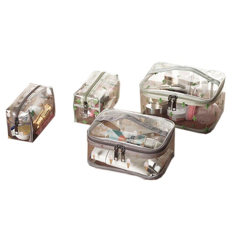 Durable Waterproof PVC Women's Travel Cosmetic Bag Thickened Transparent Multi Purpose Zipper Makeup Bag