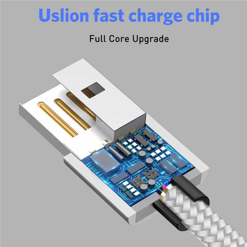 USLION 1 M LED كابل USB مغناطيسي لفون Xs ماكس 8 7 6 و USB نوع C كابل و مايكرو كابل USB لسامسونج Xiaomi USB C