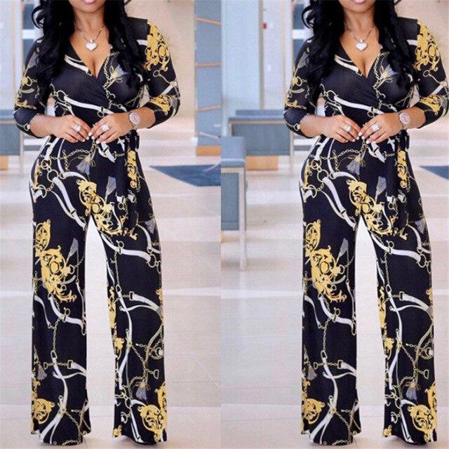 Plus Size Womens V-Neck Long Sleeve Jumpsuit arrival Ladies Autumn Clubwear Floral Print Playsuit Party Jumpsuit Long Trousers 5