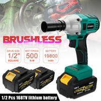 168V 19800mAh 500Nm Brushless Cordless Electric Wrench Impact Driver Power Tool Rechargeable Lithium Battery Household Drill