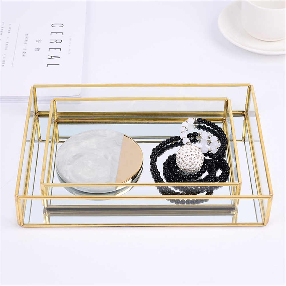Hot Nordic Retro Storage Tray Gold Rectangle Glass Makeup Organizer Tray Dessert Plate Jewelry Display Home Kitchen Decor