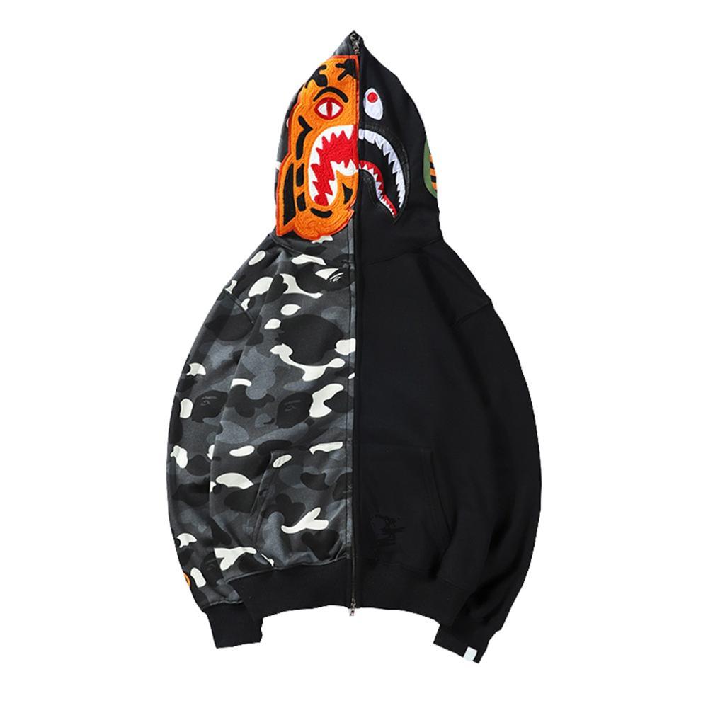 Creatorzwz Mens Zip pull à capuche sweatshirts à capuche À Capuche Avec Imprimé Tigre et le Requin