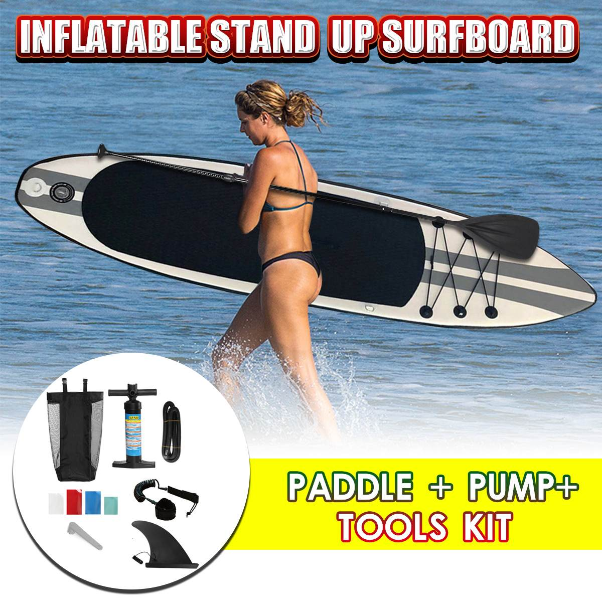 2019 New Arrival 320x78x15cm Inflatable Surfboard Surfboard Stand Up Paddle Surfing Board Water Sport Sup Board Pump Safety Rope