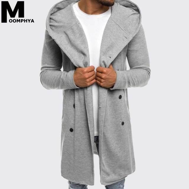 Moomphya 2019 New Streetwear Long style hooded men trench coat men windbreaker hip hop winter outwear men jacket