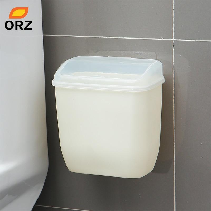ORZ Storage Box Waste Can Wall Mount Bins With Cover Creative Wall Magic Sticker Bathroom Kitchen Toilet Waste Bins Plastic Box