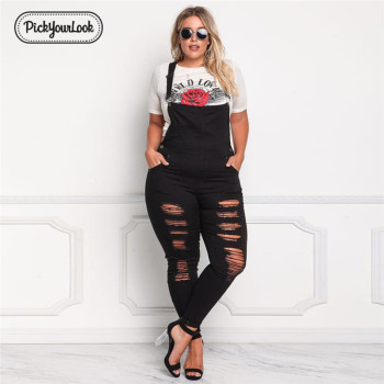 Pickyourlook Women Jumpsuit Large Size Solid Denim Plus Size Backless Long Jumpsuit Vintage Slim Streetwear Black Hollow Waist