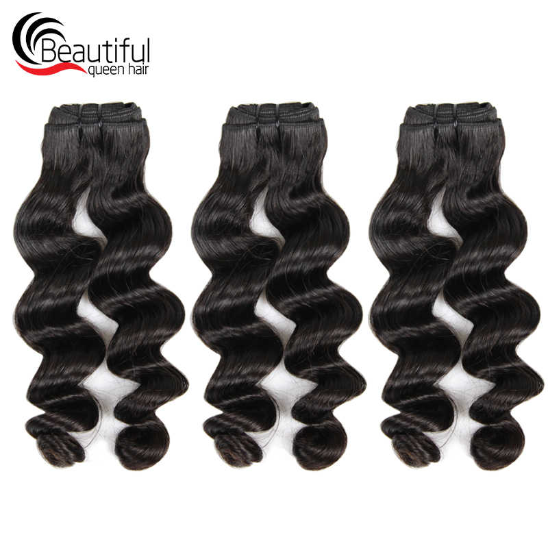 Beautiful Queen 10A Brazilian Human Hair Bundles Double Loose Wave 3PCS/Lot Natural Color Bundles Weave Virgin Hair For Women
