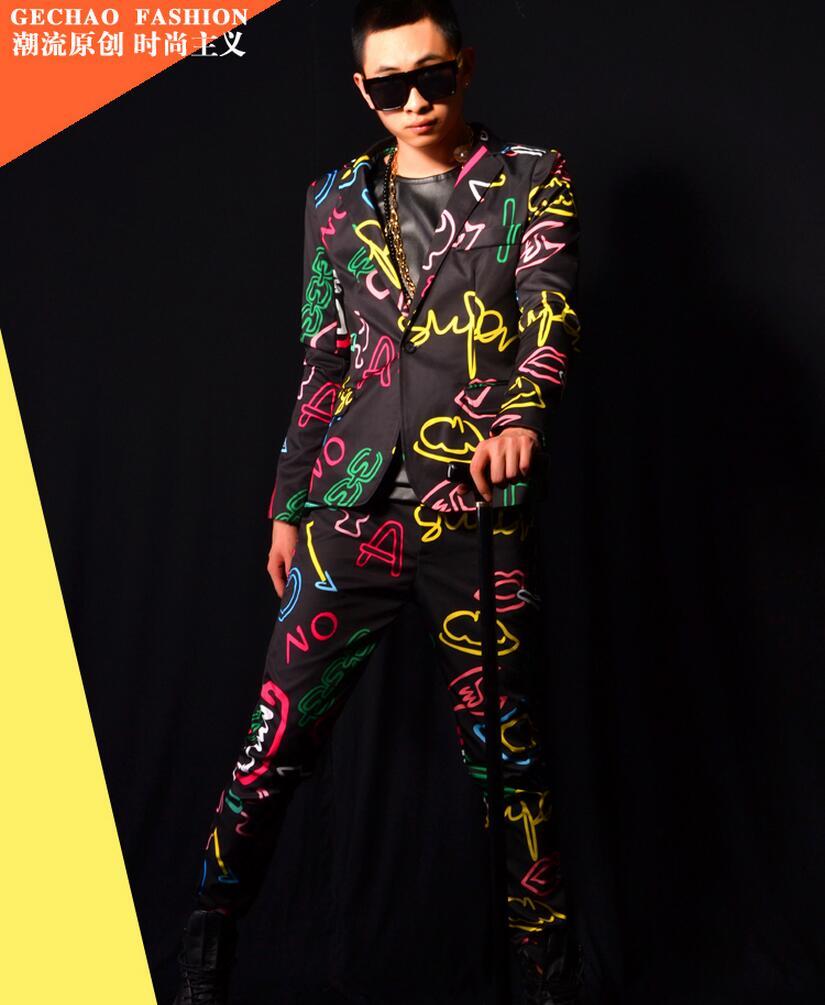2019 nouveaux vêtements pour hommes mode Slim GD néon couleurs costume ensemble manteau chanteur scène costumes hommes pus taille Performance vêtements costumes
