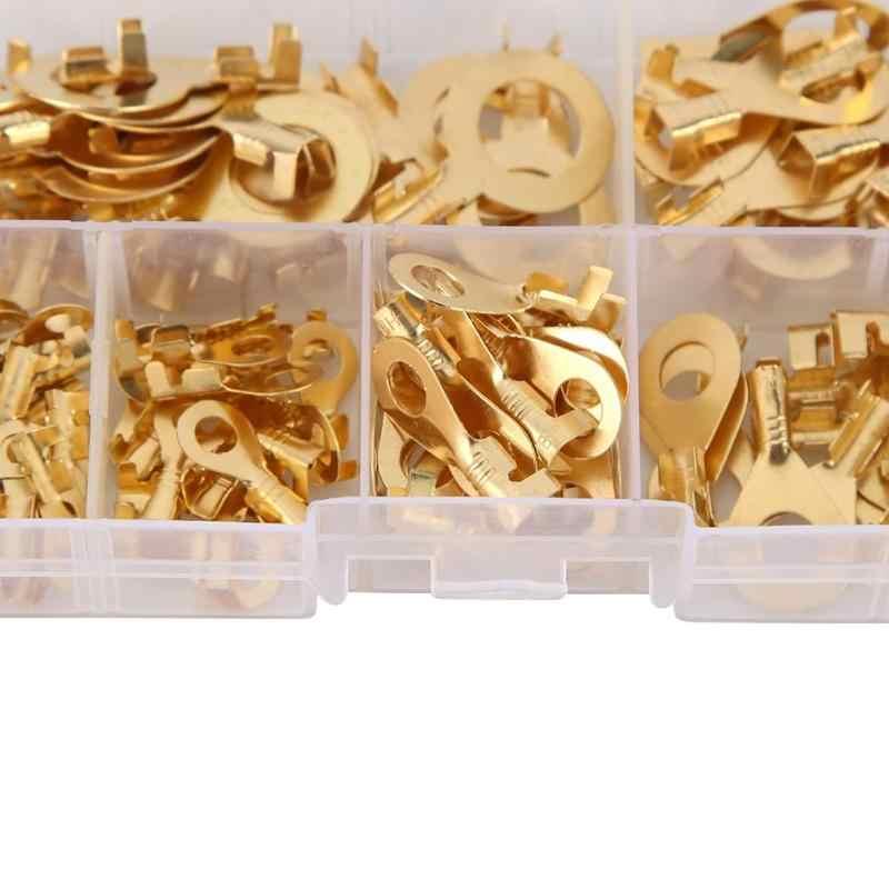 150 Cái/bộ Vòng Loại Vàng Thiết Bị Đầu Cuối Vàng Bằng Đồng Không Cách Điện Lọn Uốn Thiết Bị Đầu Cuối Đầu Kết Nối 3.2 Mm-10.2 Mm dây Kết Nối Dây