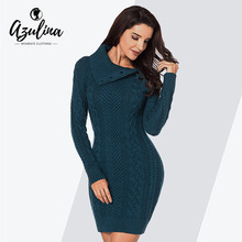 AZULINA Buttons Sweater Dress Women Turn-Down Collar Long Sleeve Bodycon  Dress Sheath Solid Ladies c435aec8b