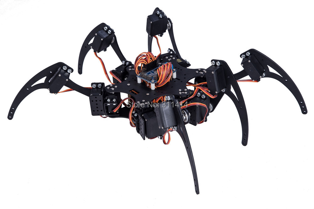 1 Set Black Six Legs Alloy 3DOF Hexapod Spider Robot Frame Kit DIY for Arduino