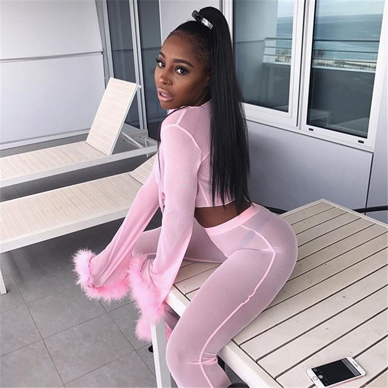 Attractive See By means of Ladies Mesh Tracksuit 2 Piece Set Stretchy Bodycon Celebration Feather Pants +Crop Tops Set Mesh Membership Put on Outfits