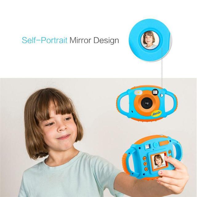 AMKOV 1.77 Inch Hd Color Screen Display Mini Children's Soft Silicone Innovative Camera 5 Mega Pixel Self-Portrait Mirror Design