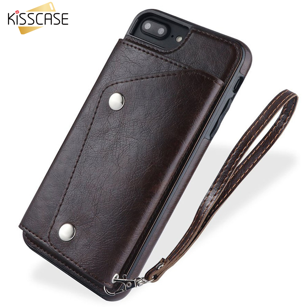 KISSCASE Leather Phone Case For iPhone Xs Max 6 6S 7 8 Plus XR X Cover Flip Wallet Key Bag Card Holder With Lanyard Capas
