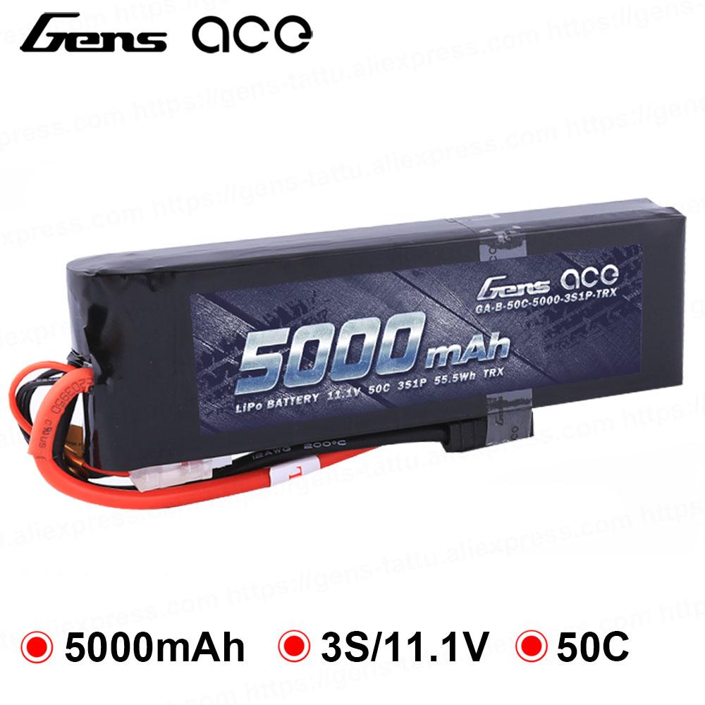 Gens ace Lipo batterie 11.1 V 5000 mAh Lipo 3 S batterie 50C TRX Plug Batteries pour Slash VXL Slash 4x4 VXL e-maxx BrushlessGens ace Lipo batterie 11.1 V 5000 mAh Lipo 3 S batterie 50C TRX Plug Batteries pour Slash VXL Slash 4x4 VXL e-maxx Brushless