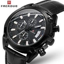 FAERDUO Black Fashion Mens Watches Quartz Leather Chronograph Army Watch Men Sport Watch Military Men's Wristwatch Clock Relogio military quartz watches men fashion green dial army sport running watch for man chronograph cycling wristwatch for male d