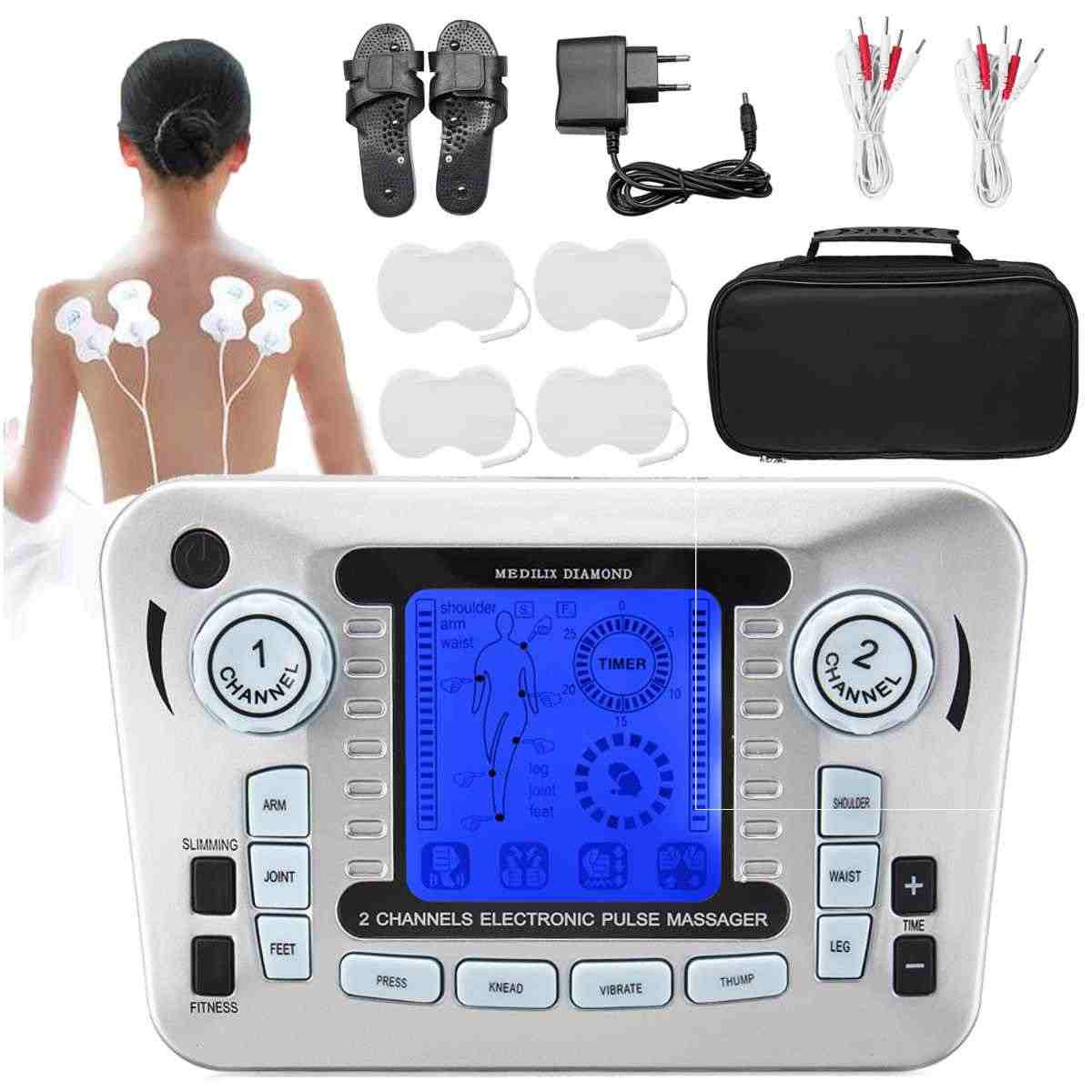 Multifunction Body Massager LCD Display Electrical Muscle Stimulator Slimming Massager Tens Acupuncture Machine +Slippers +4Pads
