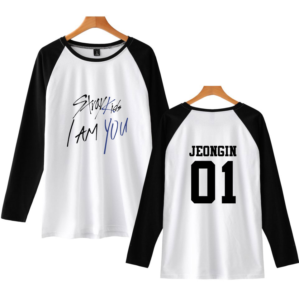 LUCKYFRIDAYF 2018 Stray Kids I Am You Member New Print Pop Raglan T-Shirts Long