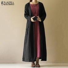41f807a3682 2019 ZANZEA Spring Long Maxi Jackets Women Casaul V Neck Long Sleeve Coats  Vestido Vintage Solid Party Cardigan Outwear Female