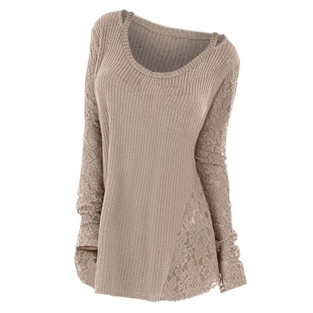 Wipalo плюс размеры кружево панель Цветочный для женщин свитер с длинным рукавом Осень Зима трикотажные топы корректирующие одноцветн