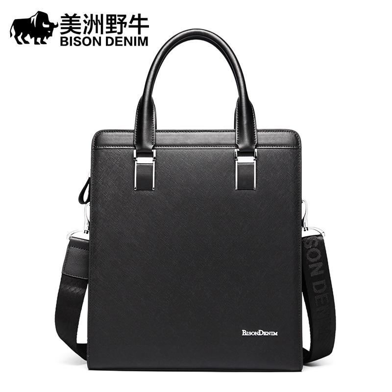 BISON DENIM Handbag Men Shoulder Bags Brand Leather Tote Bag Briefcases Business Men's Messenger Bag Casual Travel Bag Free Ship