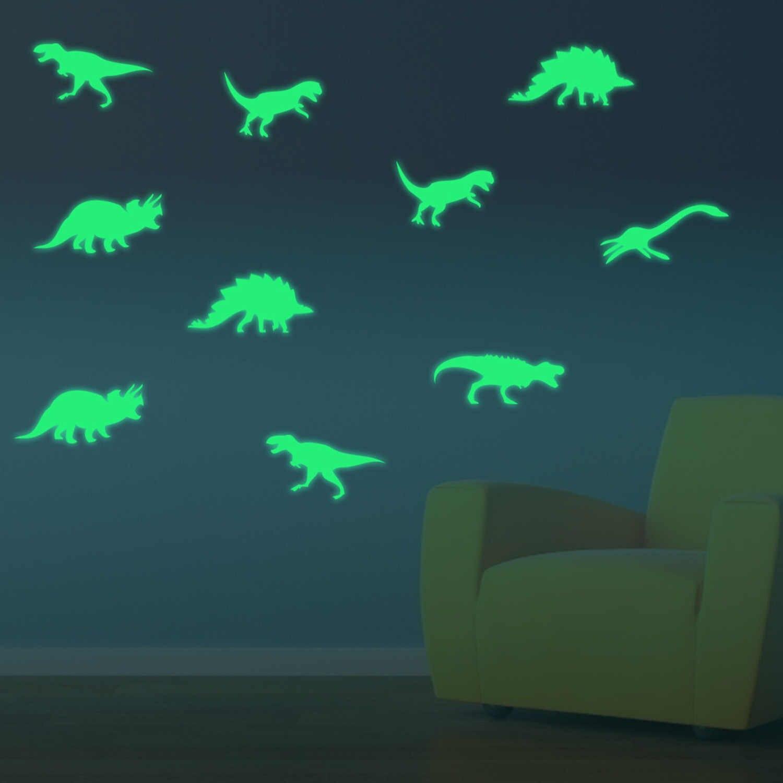 9 шт. Мода 3D Динозавр стиль светится в темноте стены окна наклейки для детей гостиная дома Спальня