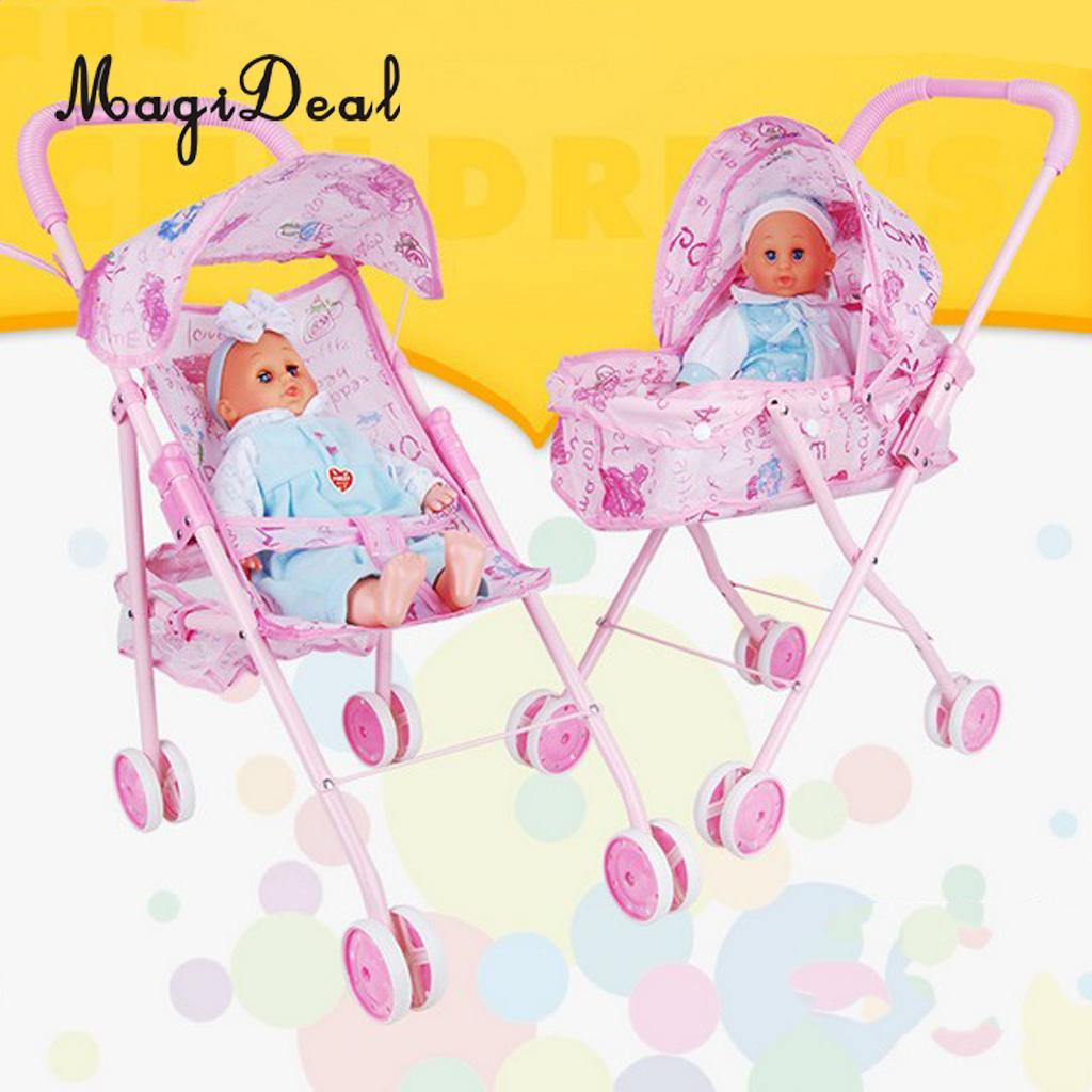 Folding Baby Stroller Toddler Carriage Simulation Furniture Toy For Reborn Doll MellChan Baby Dolls Kids Children Role Play