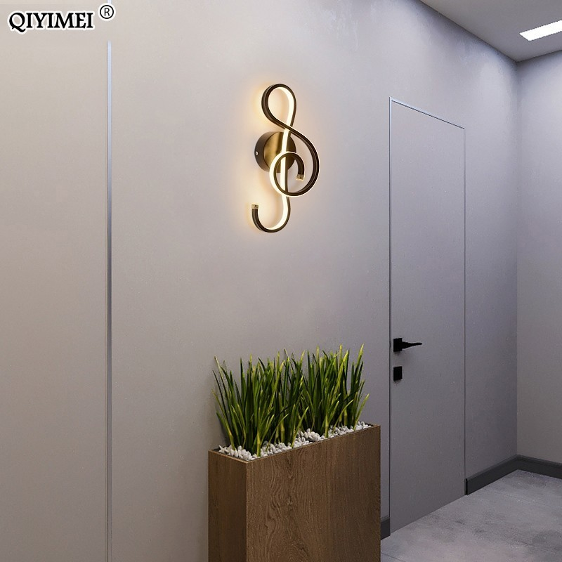 Image 5 - Branco/preto conduziu a lâmpada de parede moderna quarto ao lado da leitura luzes de parede interior sala estar corredor do hotel iluminação decoraçãoLuminárias de parede   -