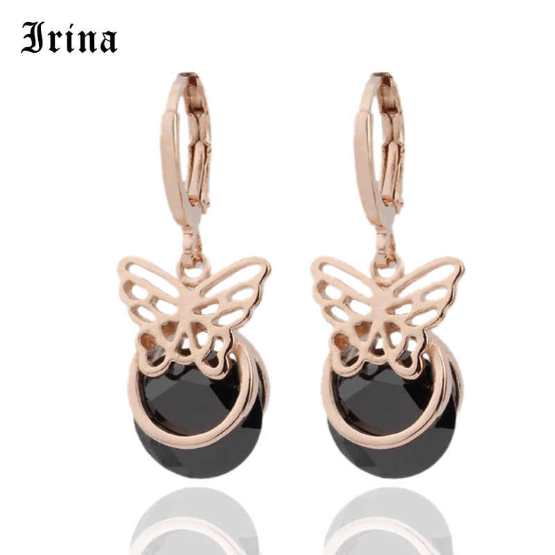 Irina 2019 Promotion  Round Butterfly 6 Color Earrings Women Fashion Noble Wedding Jewelry 585 Rose Gold  Zircon Dangle Earrings