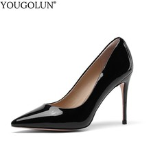 Women Patent Leather Pointed Toe High Heels Ladies Black New Thin Heel Pumps Fashion Woman Sheepskin Party Shoes YOUGOLUN A103 цена в Москве и Питере
