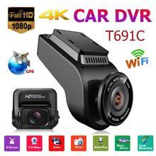 """VODOOL T691C Mini 2 """"4 K 2160 P/1080 P FHD wideorejestrator samochodowy kamera na deskę rozdzielczą kamera 170 stopni obiektyw samochodowy rejestrator wideo WiFi GPS Night Vision Dashcam"""
