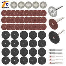 60pc discos de corte de diamante de lijado de rueda de hoja de sierra circular de la madera de metal dremel mini taladro herramienta rotativa Accesorios