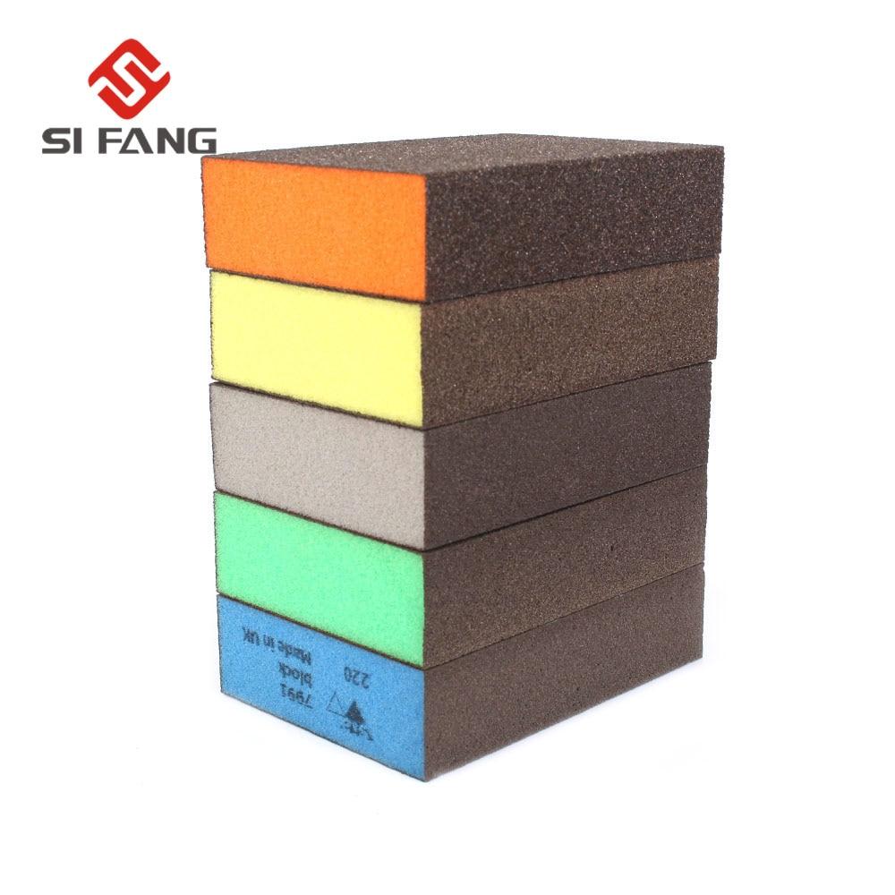Grit 60 80 120 180 220 Sanding Block Girt Sponge Polishing Pad Furniture Buffing Sandpaper Tools Sandpaper Assorted 10pcs