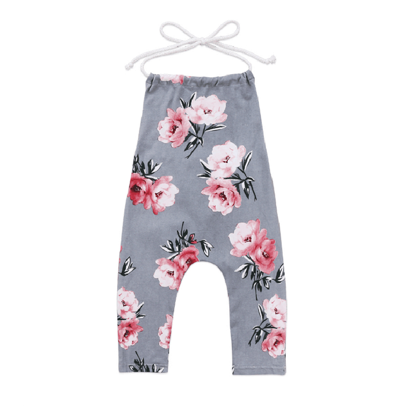 2019 Newborn Toddler Baby Kid Girls Flower Halter Lace Up   Rompers   Summer Clothes Sleeveless   Romper   Ropa Bebe Girl Carters Outfit