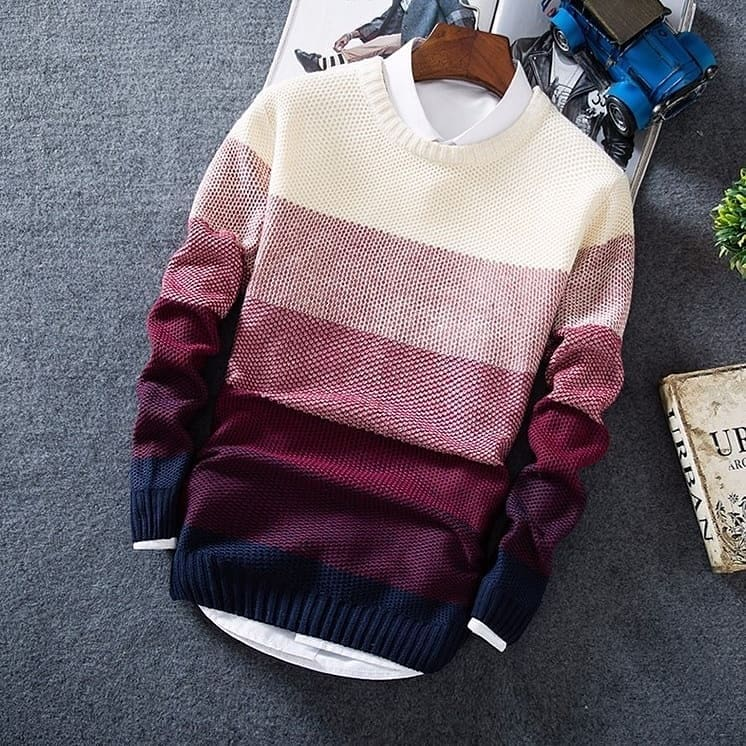 Spring Autumn Men's Jacket Coat Fashion Wool Striped  O-Neck Slim Fit Sweater Pullovers Mens Clothing  Pullover Men Pull Homme