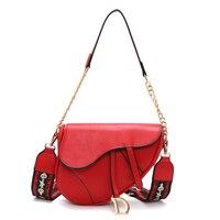 Ins New Pattern Retro Saddle Bag Women Messenger Bag Wide Shoulder Strap Chain Small Crossbody Bag PU Leather Luxury Designer