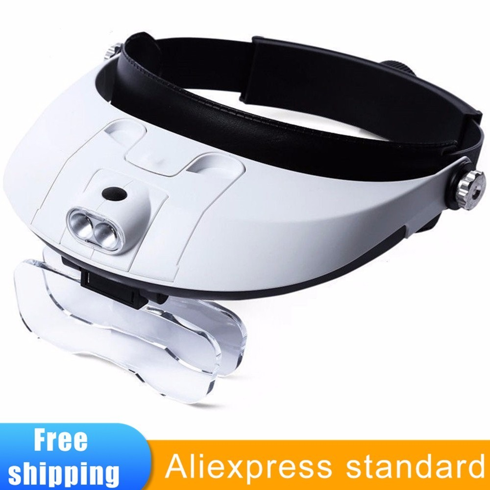 Headband Magnifier 1X To 3.5X Zoom With 5 Lens Hands Free Magnifying Glasses For Reading Jewelry Loupe Watch Electronic Repair