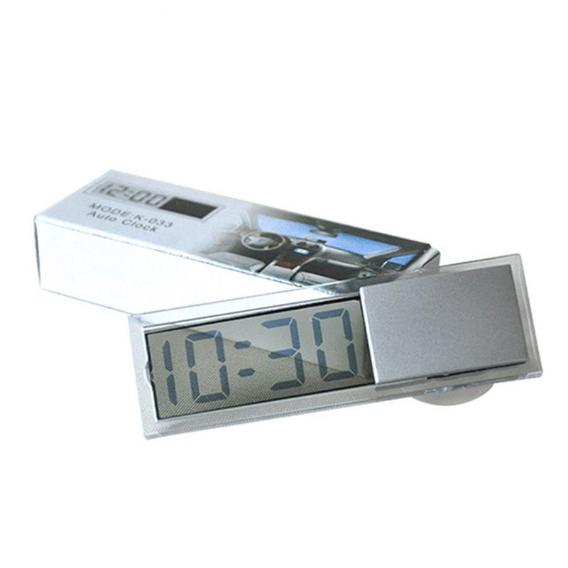 Mini Digital Car Electronic Clock Mini Durable Electronic Watch Transparent LCD Display Digital With Sucker Universal