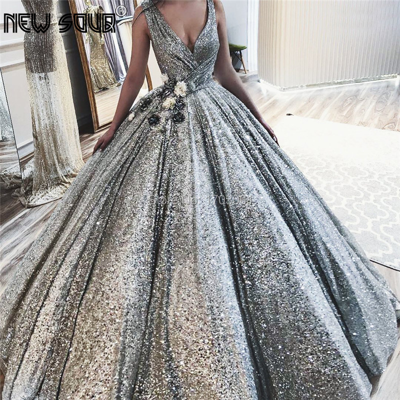 Shiny Arabic Evening Dresses Dubai Turkish Glitter Formal Prom Gowns Robe de soiree 2019 Islamic African V Neck Pageant Dress