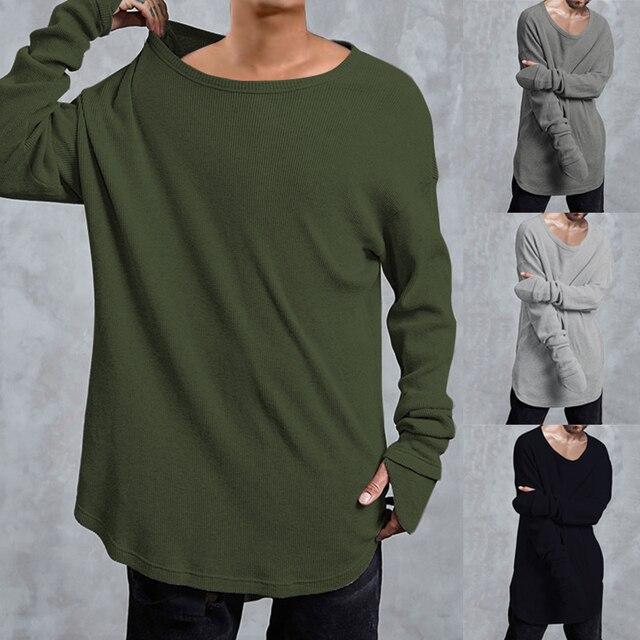 buy online 75ad5 4e109 Mode Longline Kurve Rand Männer T Shirt Feste Beiläufige Hip Hop shirts  Lange Verlängern shirt Männlichen Masculina Langarm Shirts