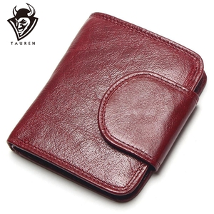 Image 1 - TAUREN Women Wine Red Wallets 100% Genuine Leather Purses Oil Cow Leather Hasp Short Retro Designer Small For Ladies Female