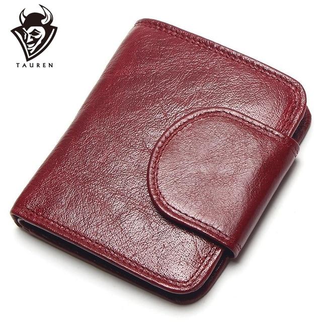 TAUREN kobiety wino czerwone portfele 100% torebki z naturalnej skóry olej krowa skóra Hasp krótka w stylu Retro designerska mała dla pań kobieta