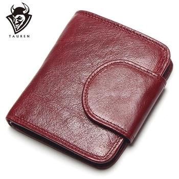 3cf7b531b TAUREN mujeres vino rojo carteras 100% cuero genuino bolsos aceite vaca  cuero Hasp corto Retro diseñador pequeño para mujer