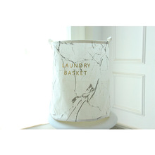 цены на Millet Wheat 3 Color Marble Lettering Pattern Folding Laundry Basket Cotton Round Storage Bucket Clothes Storage Basket  в интернет-магазинах