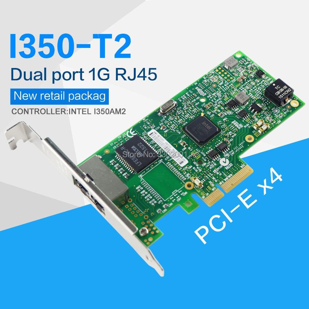 FANMI I350 T2 PCI E 4X Server Dual RJ45 Port Gigabit Ethernet LAN Intel i350AM2 1G